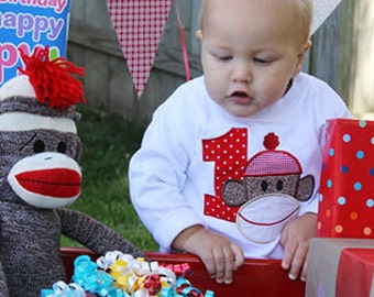 Sock Monkey Birthday Shirt in White For Any Birthday