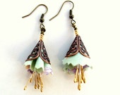 Spring pastel  fiber and brass earrings - Gilgulim