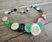 Reversible Button Choker Necklace, purple, green, teal, pink, white blue, lime (N1)