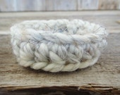Oatmeal Crochet Bracelet - Oatmeal, ivory white, chunky, summer, neutral, super soft, bohemian (B4)