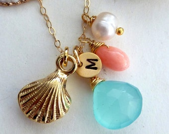 Aqua Chalcedony, 3D Sea Shell, Custom Initial Disc, Pink Coral and Pearl Necklace in 14k Gold Filled Chain