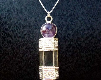 Talisman lV - Amethyst necklace in sterling silver - Light & Blessings- Amethyst and Quartz crystal necklace in Sterling silver