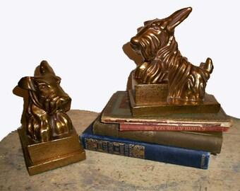 Vintage  Scottish Terrier Dog  Book  Ends Brass Gold Tone Metal