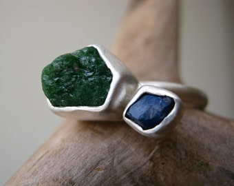Engagement Ring with Rough Emerald and Rough Blue Sapphire, Sterling Silver