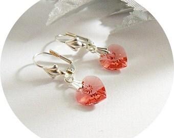 Pink Dangle Earrings, Heart Earrings, Salmon Pink, Crystal Heart Jewelry, Bridesmaid Earrings, Bridal Accessories, Austrian Crystal Hearts