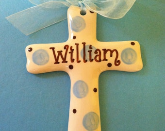 Baptism Cross in Blue and Brown That Comes in Your Color Choice for Christenings or Baby Gifts