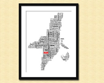 Miami Map Typography Map Poster Print