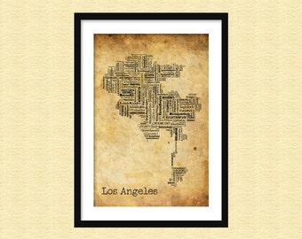 Los Angeles Map Typography Grunge Map Poster Print