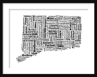 Connecticut State Map Typography Map Poster Print Text Map