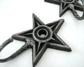 Large Cast Iron Star Hooks/Set of 2