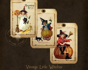 Halloween Tags Little Witches Vintage Digital Download
