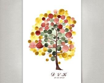 Rustic Wedding Guest Book alternative - Rustic guestbook print - YET AUTUMN TREE