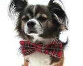 Clip on Dog Bowtie-Collar bowtie-Tartan Plaid