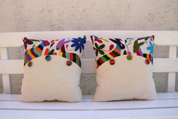 Otomi Sham Pair  Multi colored buttons Embroidery Ready to ship.