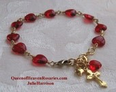Red Hearts Rosary Bracelet, Confirmation, Valentine's Day, Bracelet