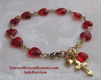 Red Hearts Rosary Bracelet, Confirmation, Valentine's Day, Bracelet