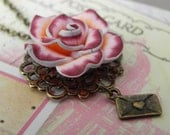 Letters to Juliet - Vintage Pink Swirled Rose Love Letter Necklace - FREE Worldwide Shipping