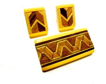 Bakelite Brooch and Earrings.  Yellow Bakelite with Geometric Wood Inlay. Vintage Circa 1940s.