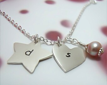 Personalized Heart or Star Charm - Hand Stamped Sterling Silver