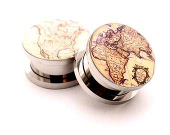 Antique Map Style 2 Picture Plugs gauges - 16g, 14g, 12g, 10g, 8g, 6g, 4g, 2g, 0g, 00g, 7/16, 1/2, 9/16, 5/8, 3/4, 7/8, 1 inch