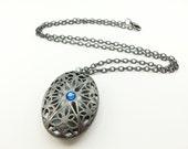 Gothic Victorian Locket Dark Silver Filigree Locket Gunmetal Blue Scent Locket Victorian Jewelry Steampunk Gray Blue Antique Large