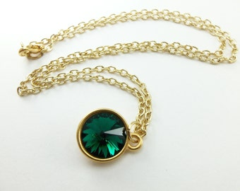 Green Emerald Necklace May Birthstone Necklace Gold Jewelry Green Necklace Crystal Jewelry