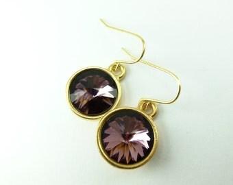 Anitque Pink Drop Earrings Crystal Drop Earrings Gold Dangle Earrings Mauve Pink Earrings