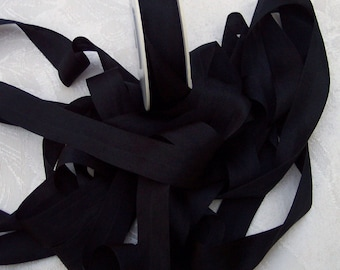 Pure Silk Ribbon 25mm  1 inch wide 5 yds  Black Color