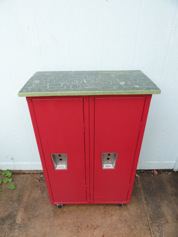 Vintage Lockers Industrial Metal School Locker Red Storage Cabinet on Casters Wood Top