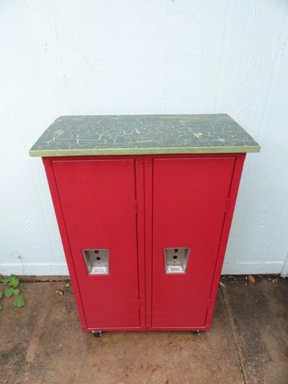 Vintage Lockers Industrial Metal School Locker Red Storage Cabinet on Casters Wood Top