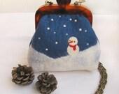 Felted bag purse, Mr.Snowman