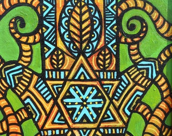 Hamsa Hand of Protection in Green & Turquoise Framed 8 x 10 Painting for Home or Gift