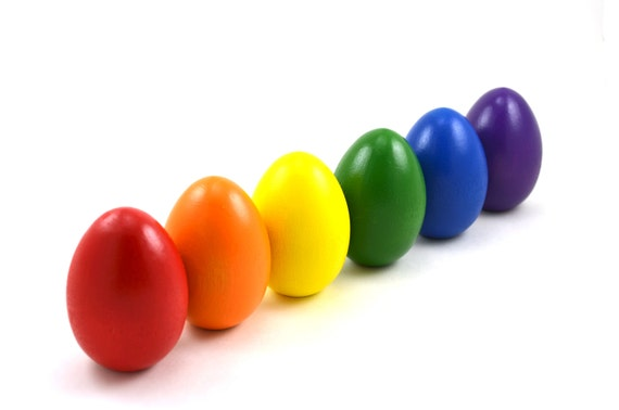 Wooden Easter Eggs - Rainbow - Set of 6