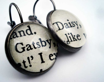 Great Gatsby Earrings, Book Earrings,  Teacher Gift, American Literature Gift, Book Jewellery, Literary Earrings, Gifts made from Books