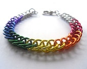 Gay Pride bracelet, Unisex chainmaille bracelet, Rainbow bracelet, Rainbow jewelry, Gay Pride jewelry