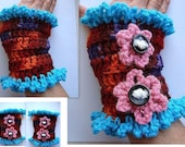 CROCHET PATTERN, craft supplies, Colorful Texting Gloves, number FFA-28, instant digital download, make them any size