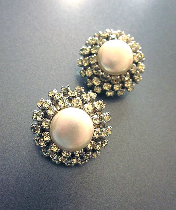 Vintage Rhinestone Pearl Buttons