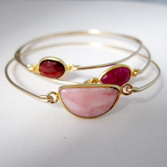 Valentines Day Set of 3 Gemstone Bracelets, Pink Opal Bracelet, Red Ruby Bracelet, Garnet Bracelet, 14k Gold Fill Bangles, Gemstone Jewelry