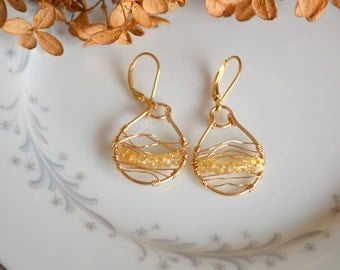 Citrine and gold wire wrapped woven hoop earrings, citrine earrings, november birthstone, citrine jewelry