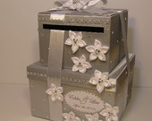 2 tier Silver and  White Wedding  Card Box Gift Card Box Money Card Box Holder-customize your color