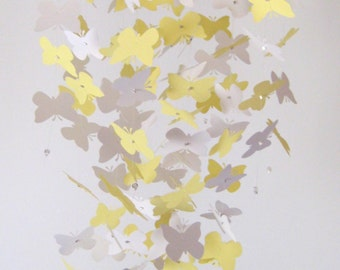 Butterfly Nursery Mobile Yellow and White Baby Crib Mobile