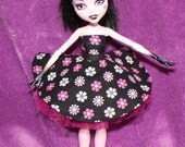 Pink Flowers Black Dress Custom Outfit For Monster High Clothes Skirt OOAK