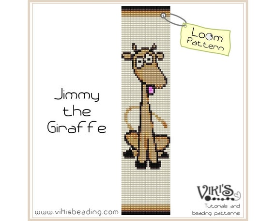 Loom bead pattern: Jimmy the Giraffe for wide bracelet - INSTANT DOWNLOAD pdf - Multibuy savings with coupon codes