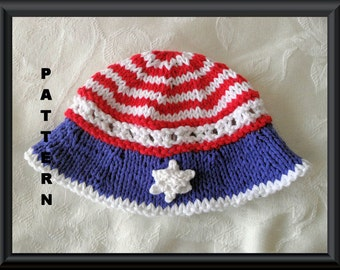 Knitted Hat Pattern Baby Hat Pattern  Fourth of July Hat Patriotic Hat Independence Day Hat: STARS and STRIPES BRIMMED Hat