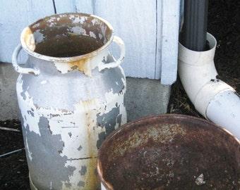 Old Galvanized Milk Can Chippy White Paint Cottage Shabby Chic Industrial Farm Garden Flower Decor