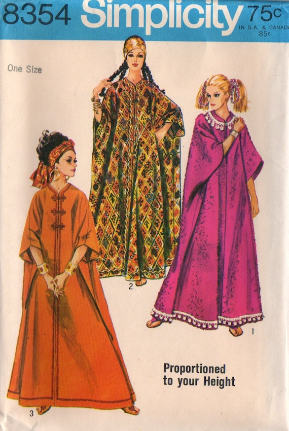 60s Caftan Simplicity 8354 Sewing Pattern, One Size, Uncut