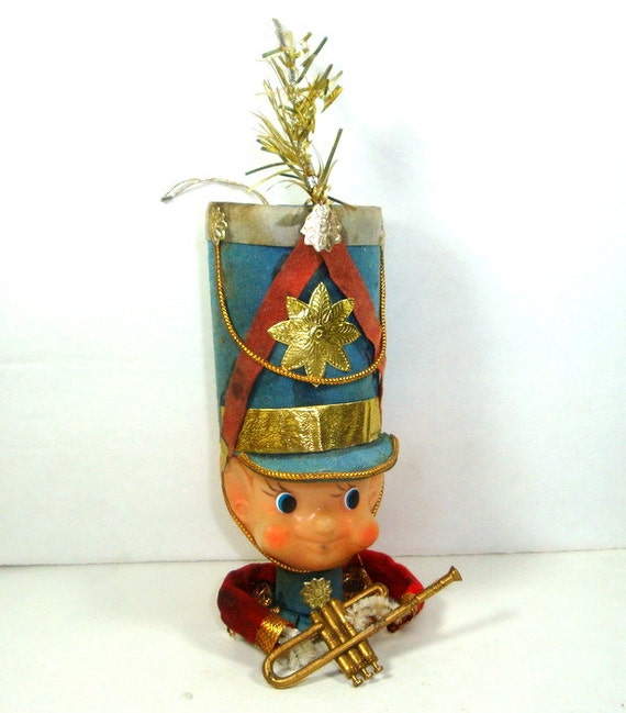 Vintage Christmas Elf Ornament, Band, Musical. Made in Japan  (664-10)