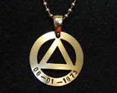 AA Recovery Jewelry Unity Symbol Pendant - Thick - Sobriety Date