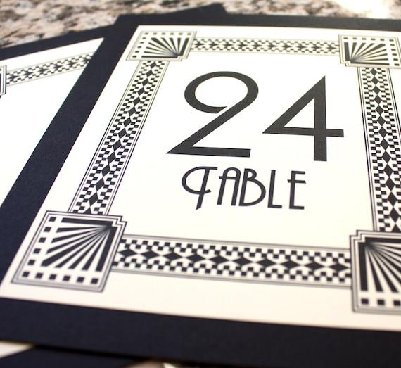 Art deco table number wedding decor sign custom great gatsby roaring