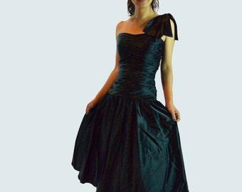 vintage 80s dress / Black Satin Party Dress / One Shoulder Ruched Cocktail Dress / Full Skirt Satin Evening Dress XS / S